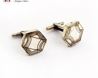 Vintage Engraved Hexagonal Cufflinks Sterling Silver