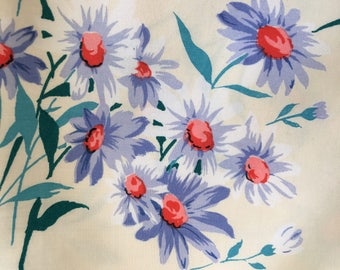 70's Vintage DAISY flower print cotton fabric 2.3m