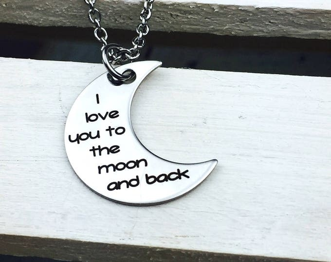 Moon and Back Crescent Shape Necklace