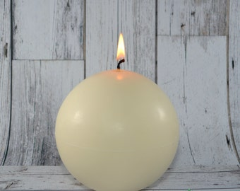 All Natural Vegan 5 inch Soy Sphere Candle, Scented or Unscented. Large Round, Ball Candle.