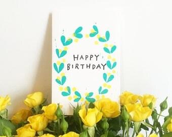 """Happy Birthday"" card / Yellow Flowers"