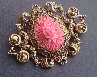 Brooch Pin - Victorian Pink Floral Cameo Brooch, Gift for Her, Lady Cameo, Cameo Jewelry, Cameos, Lady Cameo Brooch, Victorian Brooch, Cameo