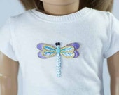 American Girl or 18 inch Doll TEE Top Blouse SHIRT in White with Dragonfly Applique Design in Seven Option