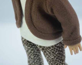 JACKET Cardigan Sweaterin Chocolate Brown Fleece with Animal Print LEGGINGS Tee Shirt Top and SHOE Option for American Girl of 18  inch doll