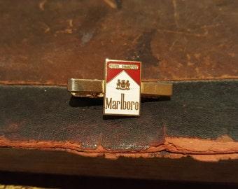Vintage Gold Tone & Enamel Malboro Cigarette Packet Tie Clip/Bar
