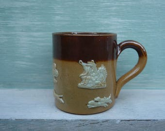 Miniature Royal Doulton Brown Stoneware Tankard, Antique Dolls House