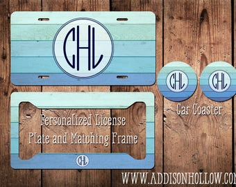 Monogram Car License Plate Tag and Frame Blue Mint Ombre Wood Personalized Vanity Gift for her
