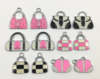 12 handbag enamel and silver tone / 17mm to 25mm #CH 608