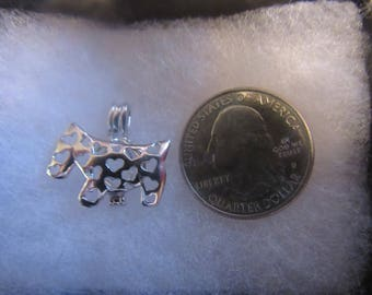 925 Sterling Silver Dog Pearl Cage/charm/locket pendant