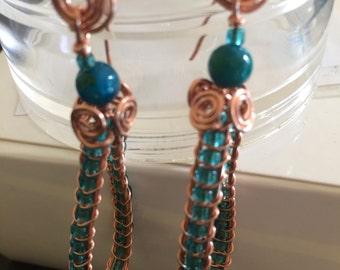 Copper & Teal Braided Wire Earrings