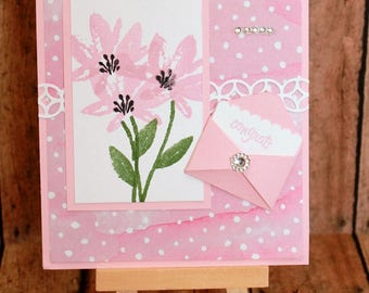 Handmade Card/Floral/Stamped/Congrats/Feminine/Soft Pink
