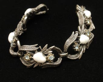 Coro Vintage Bracelet Baby Tooth Pearl Stones