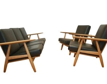 Vintage Danish Design Getama Cigar Sofa Armchairs Set By Designer Hans J. Wegner