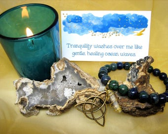 Tranquility Manifesting Kit - Candle, Bracelet, Affirmation Cards, Serenity Spell