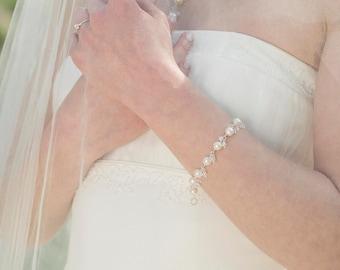 Freshwater pearl bracelet, pearl bracelet wedding, pearl and crystal bridal bracelet, wedding bracelet - Florence