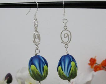 Flower Bud Earrings, Sterling Silver and Poly Clay