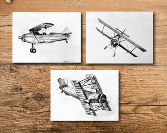 Boys Room Wall Art - Airplane Boys Room Wall Art - Boys Room Wall Art Prints - Boys Room Wall Decor Set - Airplane Boys Room Wall Decor