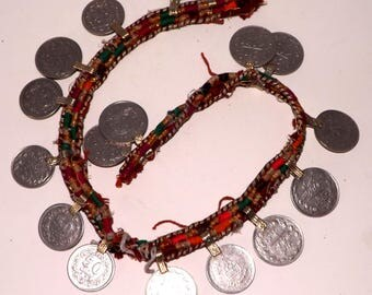 Salvaged Kuchi Textile Strand with 17 x 22mm Real Loop Top Coins for DIY Belly Dance Costume Decoration & Jewellery Making