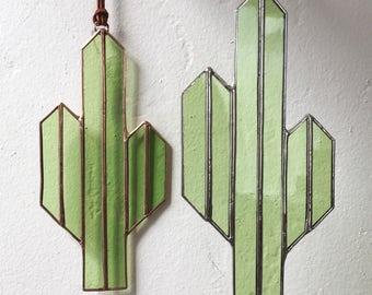 NEW Minimalist Saguaro Cactus Sun Catcher // Geometric Window Hanging