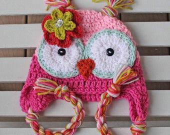 Girl Owl Hat, Owl Hat, Baby Owl Hat, Kids Hat, Children Hat, Purple Hat,  Halloween Hat, Photo Prop