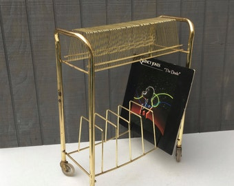 Midcentury Gold Metal Vintage Vinyl Storage Stand, Vintage Record Stand, Holds 45 and 33