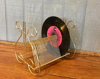 Vintage Record Stand, Gold and Black Metal Record Holder, Mid-Century Record Rack