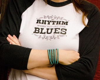 Johnny Cash tshirt womens Get Rhythm When You Get the Blues, rock n roll tshirt, rock band graphic tee, women who love music