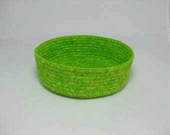Coiled Fabric Bowl, Handmade Fabric Basket, Green Bowl