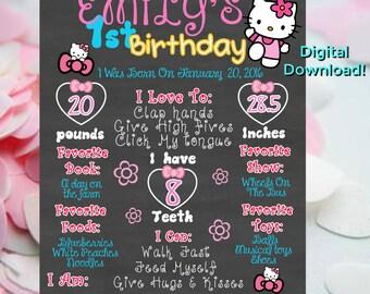 Hello Kitty Chalkboard Poster,Hello Kitty Birthday Chalkboard Poster,Hello Kitty Birthday Banner, photo prop chalkboard First Birthday,