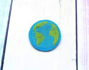 Earth Feltie In the hoop Machine Embroidery Design. Earth Day Embroidery file. Instant download. Earth ITH project