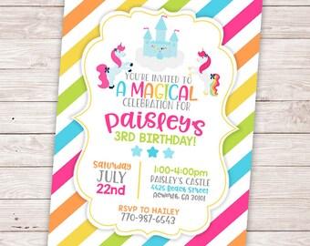 Magical Unicorn Birthday Invitation - Rainbow Invitation - Girl Birthday Party