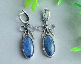 Kyanite sterling silver earrings , , silver earrings, sterling earrings, big earrings, blue earrings, kyanite jewelry, with stone