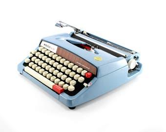 Webster XL 747 Manual Typewriter - Working Blue Vintage Typewriter - Excellent Condition
