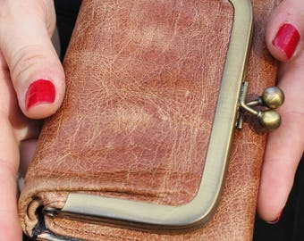 Evanna Clipframe purse in tan and floral leather
