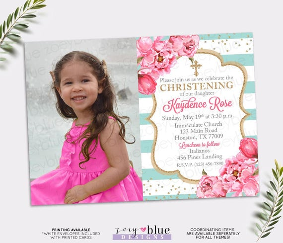 Girl Baptism Invitation Pink Turquoise Gold Baptism Invite