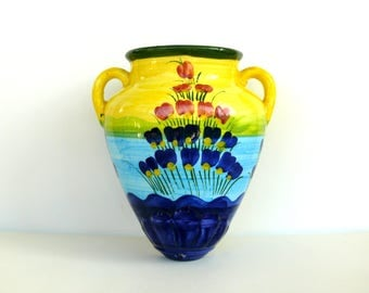 Vintage Ceramic Wall Pocket Vase, Small Hand Painted Faience Wall Pocket Vase, Wall Vase, French Vase, Home Decor, Yellow Blue Ceramic