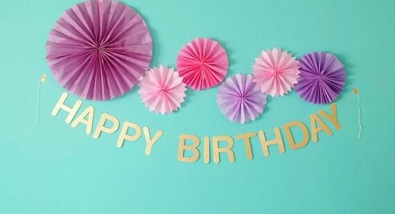 happy birthday custom name party banner gold glitter black