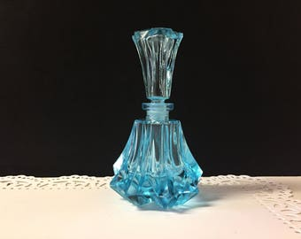 Vintage Blue Crystal Perfume Bottle Bohemian