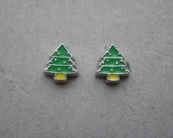 Earrings Mini Stud Christmas Tree Earrings silver Baubles Yellow Base/Floating Charm/Novelty