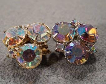 Vintage Retro Style Silver Tone Glass Stone Round Aurora Borealis Clip On Earrings Jewelry -K#39