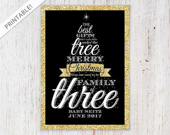 Typographic Gold Glitter Christmas Tree Pregnancy Announcement - Black and Gold Holiday Card - Christmas Card - New Baby