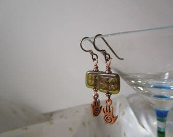 Healing Hands Spiral and Natural Green Czech Glass Earrings Good Luck and Protection Organic Earrings Hypoallergenic Niobium Ear Wires