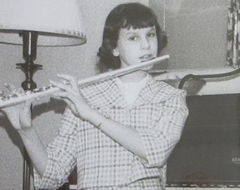 Vintage 1960's Young Female Flautist Plays Her Flute Snapshot Photograph - Free Shipping