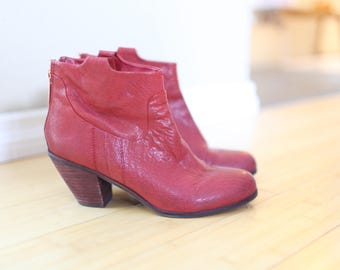 vintage red leather western cowboy ankle boots  womens 8 1/2