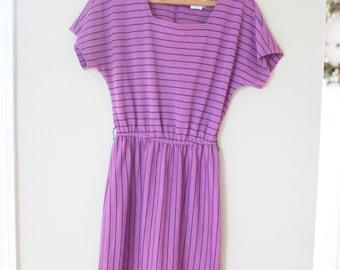 vintage purple & black stripe  secretary dress
