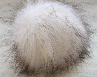 "White black tip  Faux Fur Pom Pom Hat Fox Pompon Fourrure Extra Large 6"""