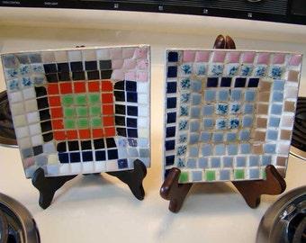 Vintage tile ashtrays, mid century tile aluminum ashtrays, mosaic tile ashtrays,  set of 2