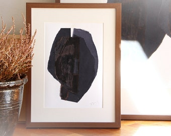 Simple Modern Art Print, Original Paper Collage, Abstract Black Head, Giclee Print