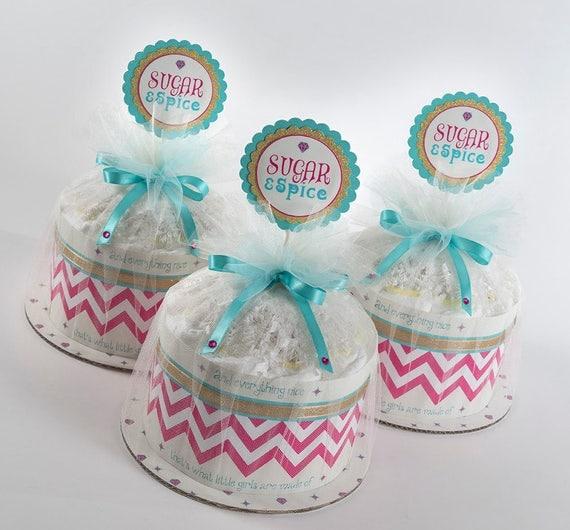 "Three "" Sugar & Spice"" Mini Diaper Cakes. Baby Shower Centerpieces."