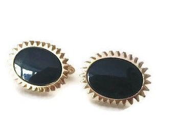 Vintage Black Glass Swank Cufflinks, Gold Tone Wedding Cuff Links